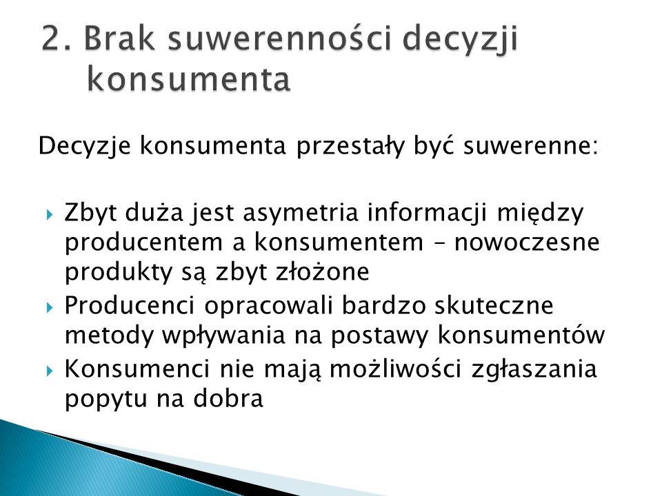 2. Brak suwerenności decyzji konsumenta