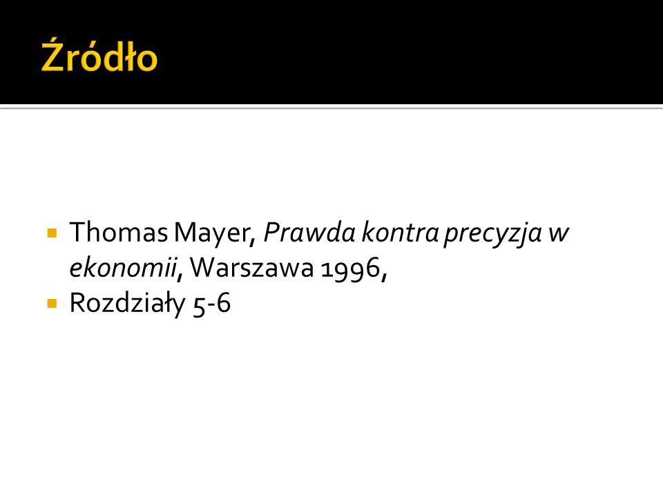 Źródło Thomas Mayer, Prawda kontra precyzja w ekonomii, Warszawa 1996,