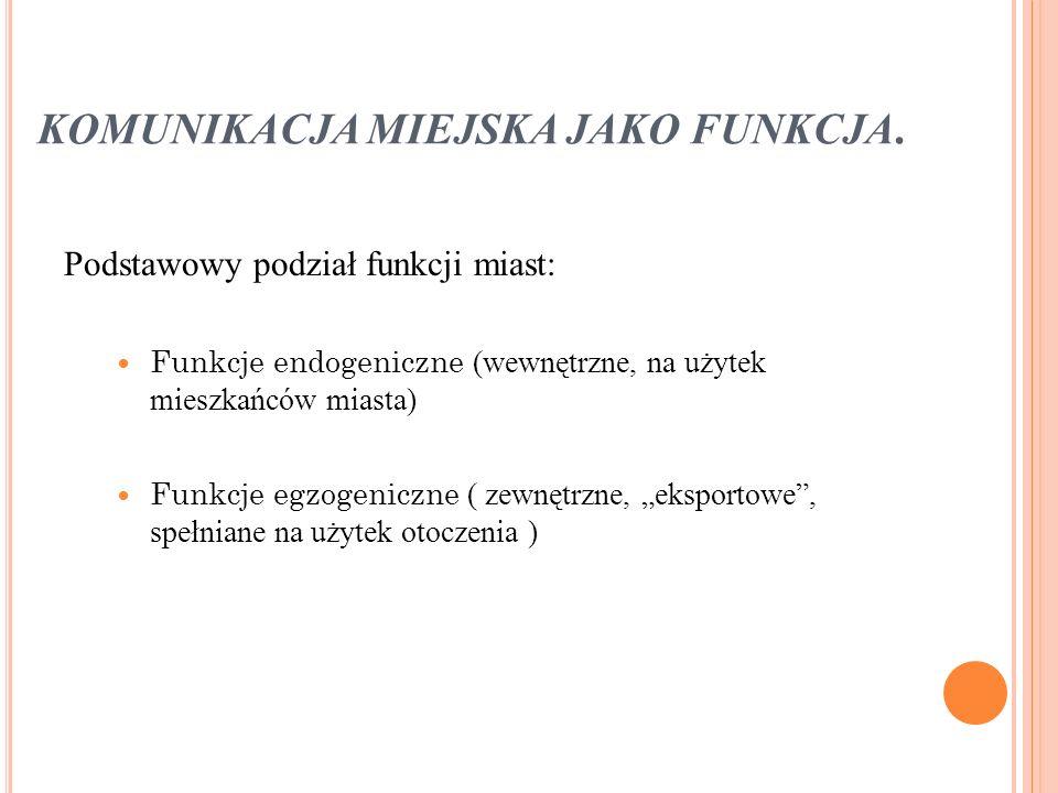 KOMUNIKACJA MIEJSKA JAKO FUNKCJA.
