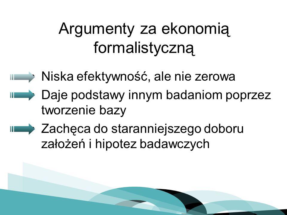 Argumenty za ekonomią formalistyczną