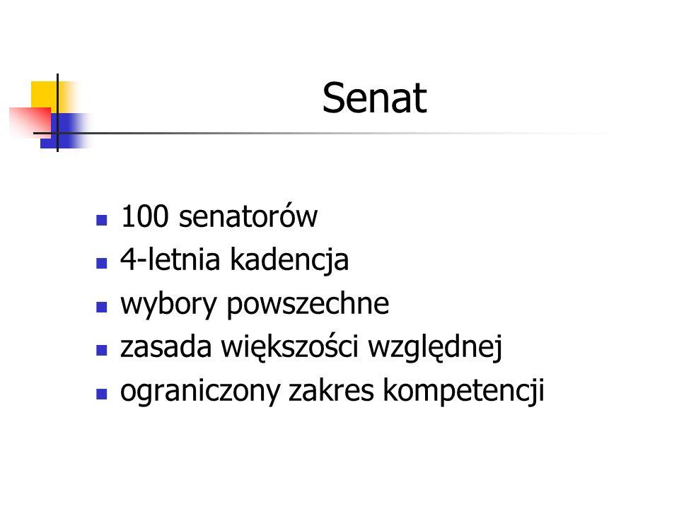 Senat 100 senatorów 4-letnia kadencja wybory powszechne