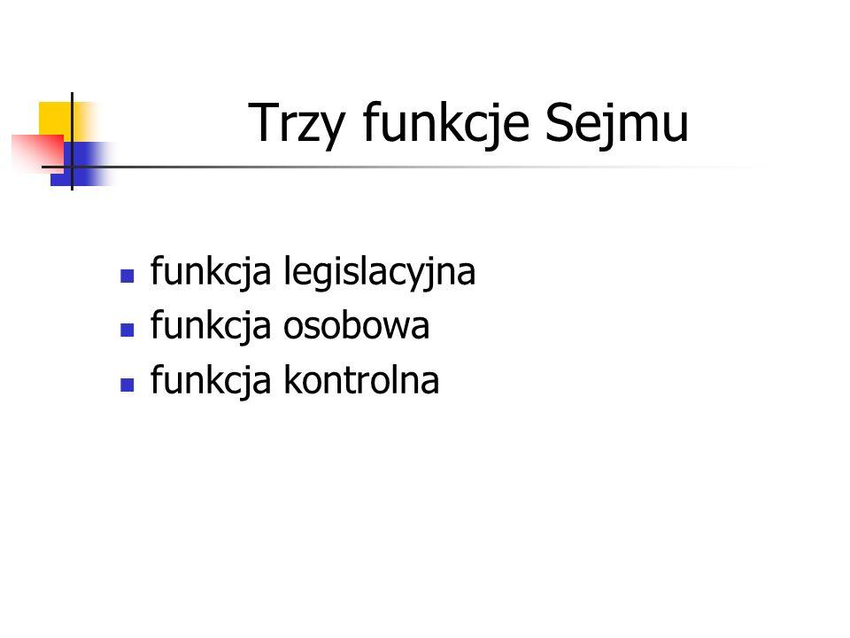 Trzy funkcje Sejmu funkcja legislacyjna funkcja osobowa