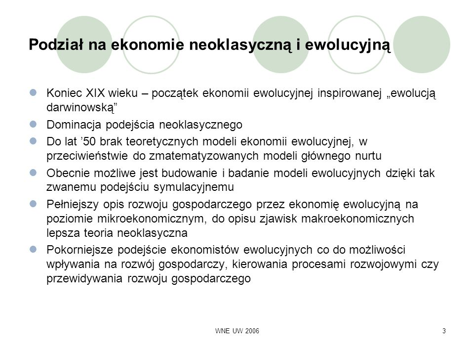 Podział na ekonomie neoklasyczną i ewolucyjną