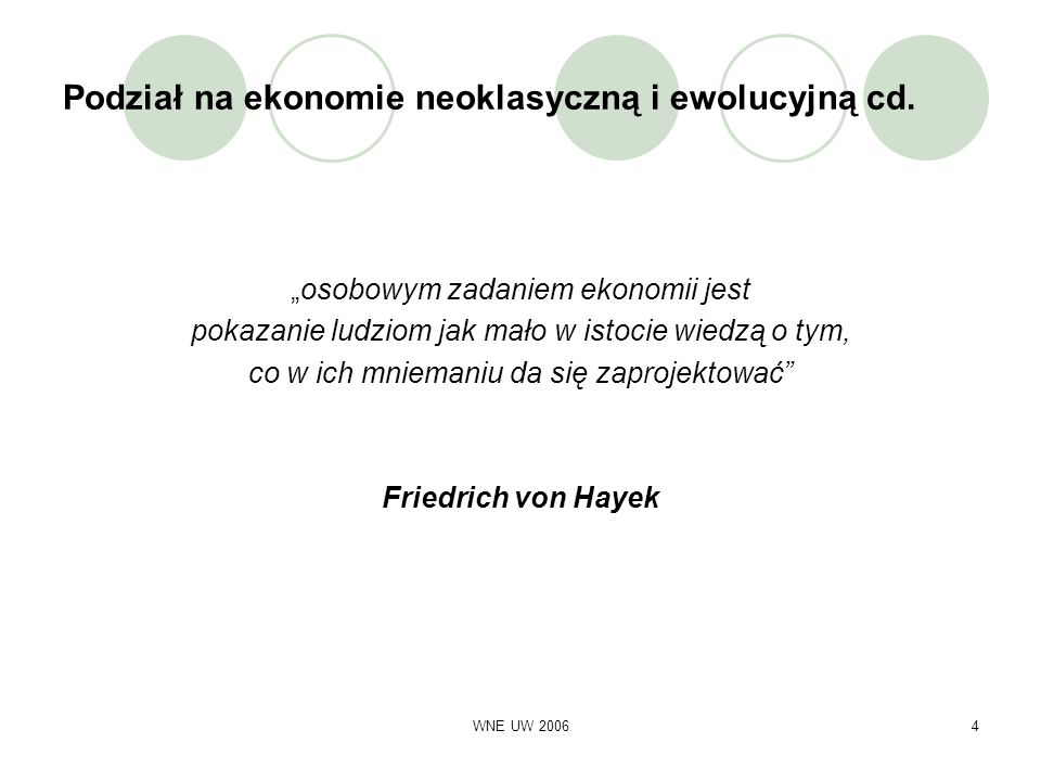 Podział na ekonomie neoklasyczną i ewolucyjną cd.