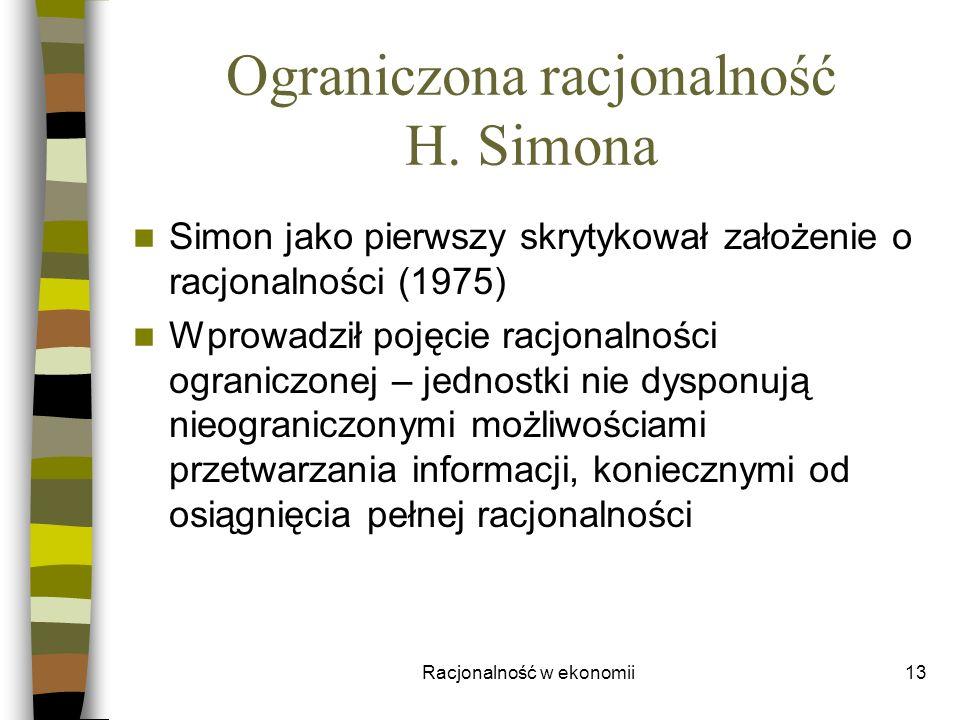 Ograniczona racjonalność H. Simona