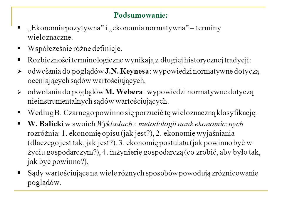 """Podsumowanie: """"Ekonomia pozytywna i """"ekonomia normatywna – terminy wieloznaczne. Współcześnie różne definicje."""