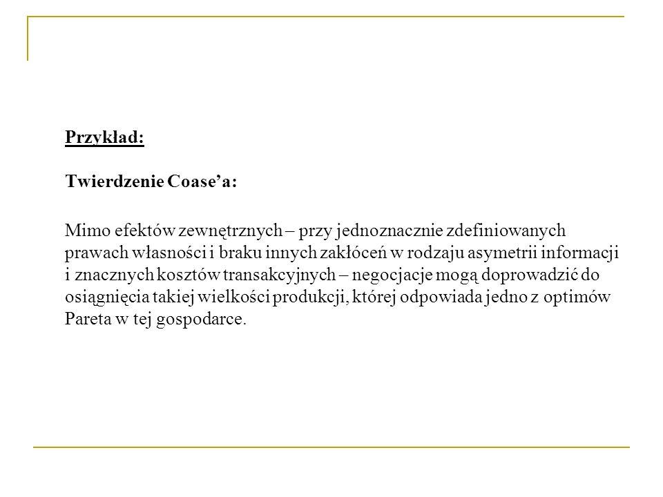 Przykład: Twierdzenie Coase'a:
