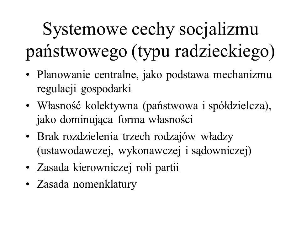 Systemowe cechy socjalizmu państwowego (typu radzieckiego)