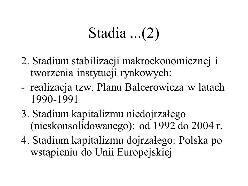 Stadia ...(2) 2. Stadium stabilizacji makroekonomicznej i tworzenia instytucji rynkowych: realizacja tzw. Planu Balcerowicza w latach 1990-1991.