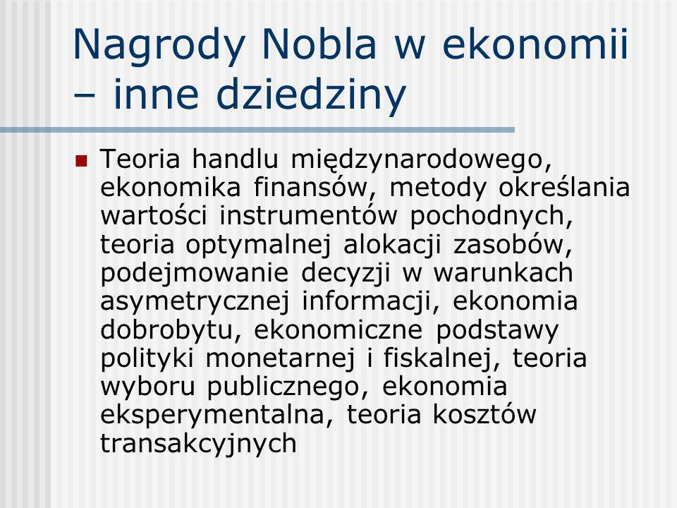Nagrody Nobla w ekonomii – inne dziedziny