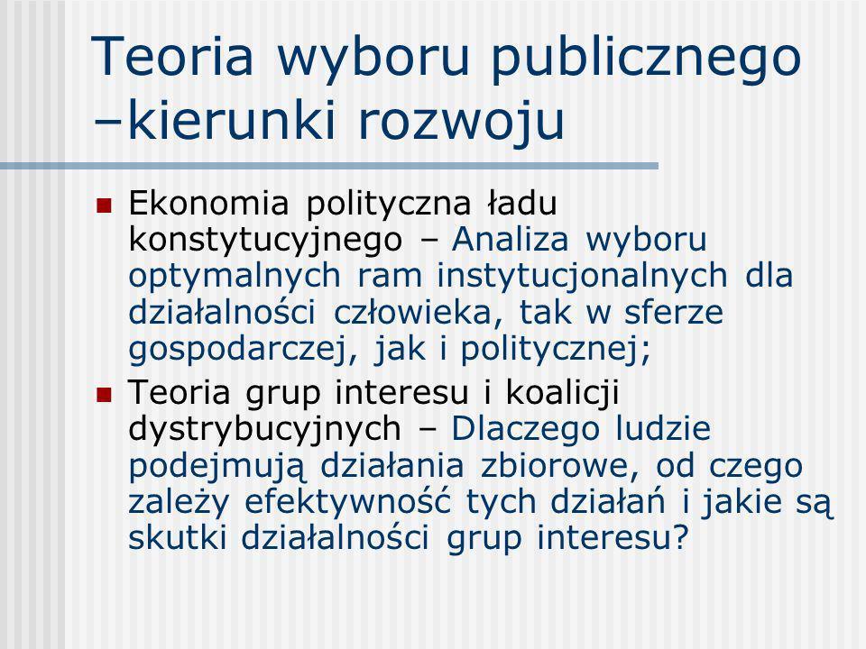 Teoria wyboru publicznego –kierunki rozwoju