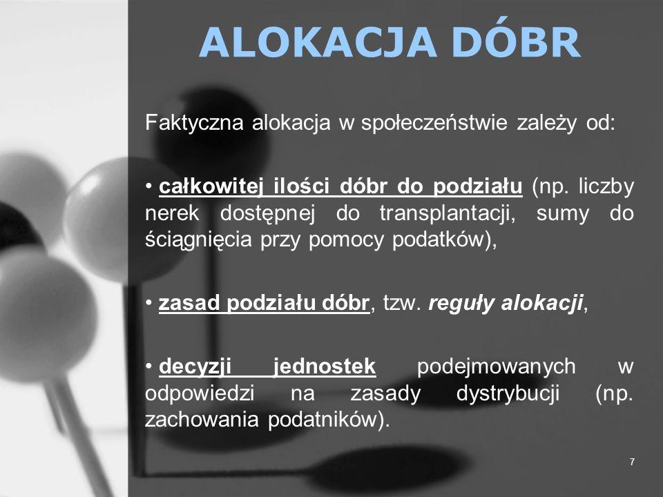 ALOKACJA DÓBR Faktyczna alokacja w społeczeństwie zależy od: