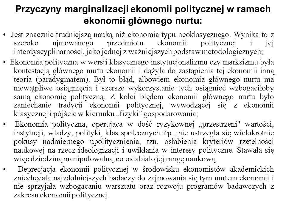 Przyczyny marginalizacji ekonomii politycznej w ramach ekonomii głównego nurtu: