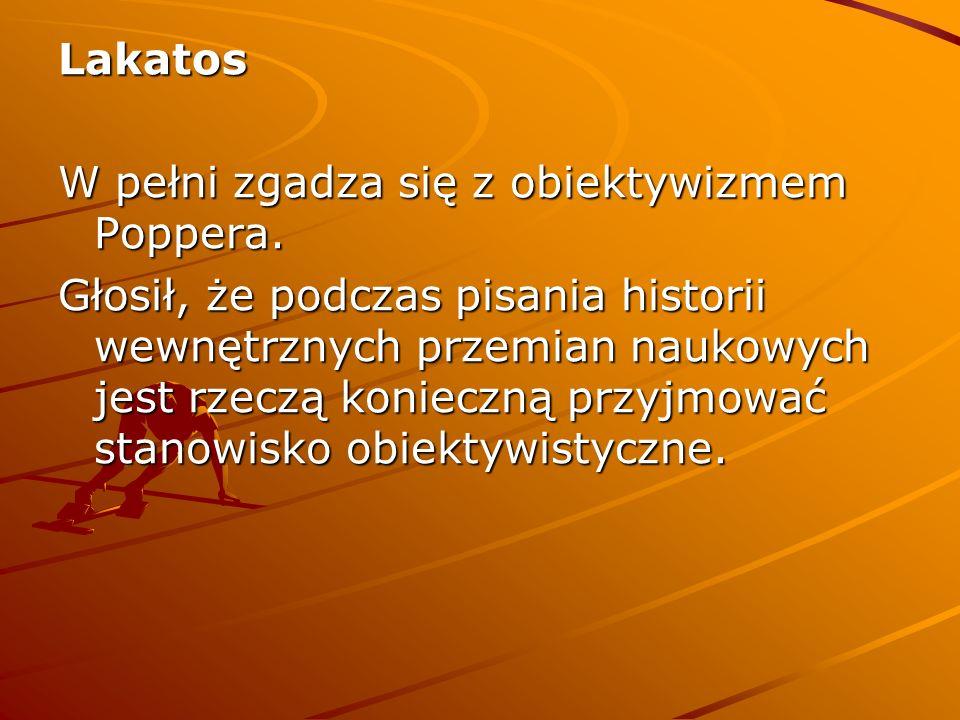 Lakatos W pełni zgadza się z obiektywizmem Poppera.