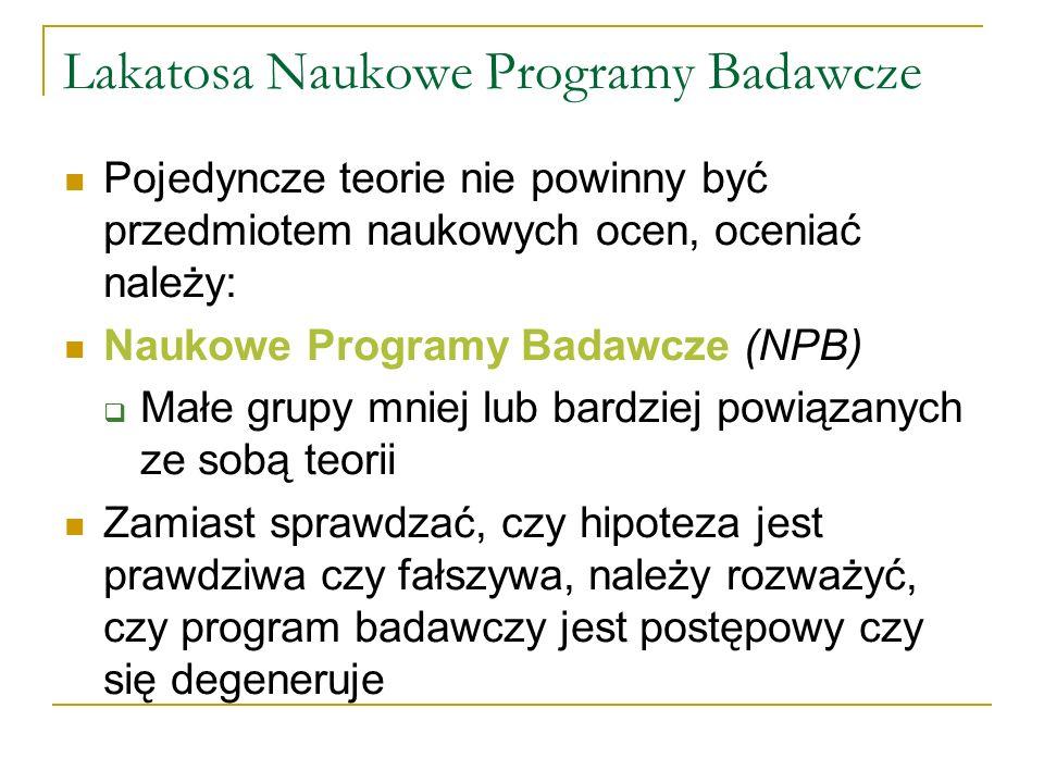 Lakatosa Naukowe Programy Badawcze
