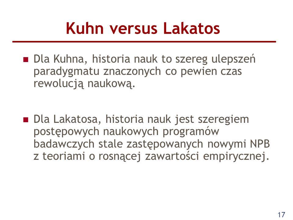 Kuhn versus Lakatos Dla Kuhna, historia nauk to szereg ulepszeń paradygmatu znaczonych co pewien czas rewolucją naukową.