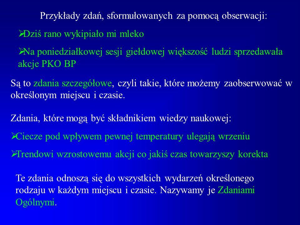 Przykłady zdań, sformułowanych za pomocą obserwacji: