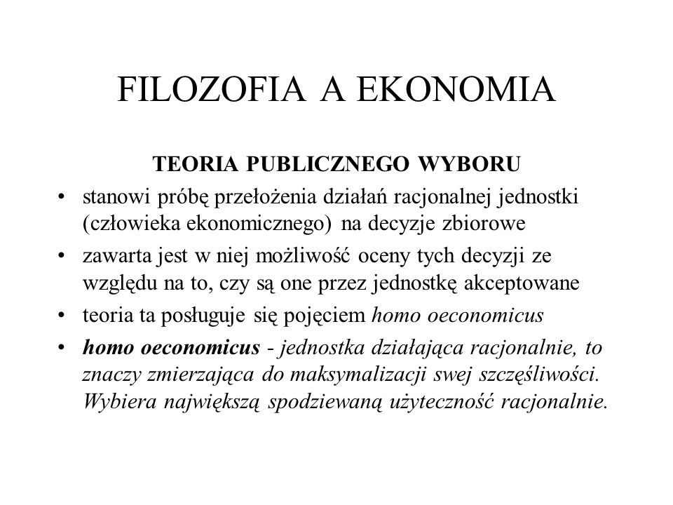 TEORIA PUBLICZNEGO WYBORU