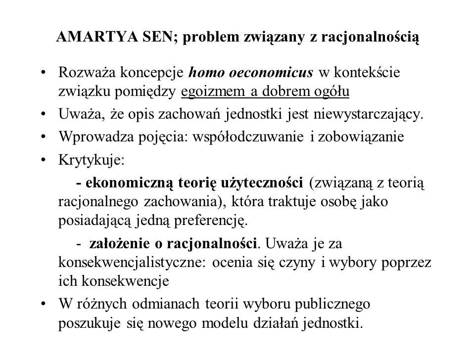 AMARTYA SEN; problem związany z racjonalnością