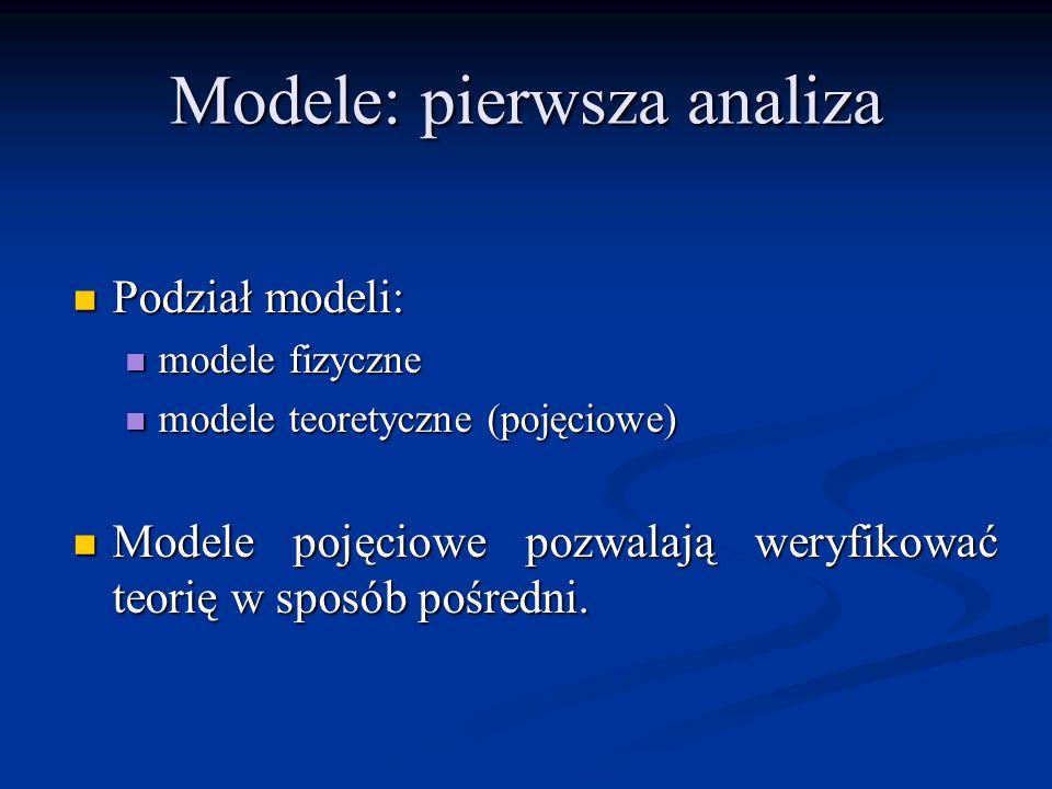 Modele: pierwsza analiza