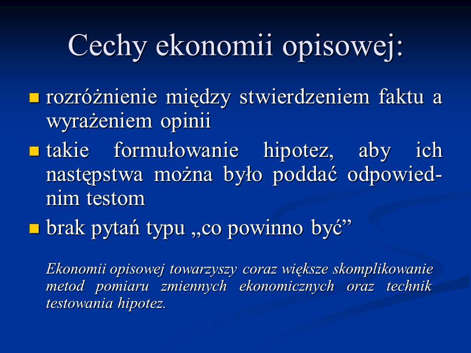 Cechy ekonomii opisowej: