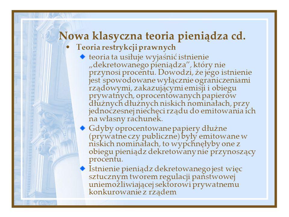 Nowa klasyczna teoria pieniądza cd.