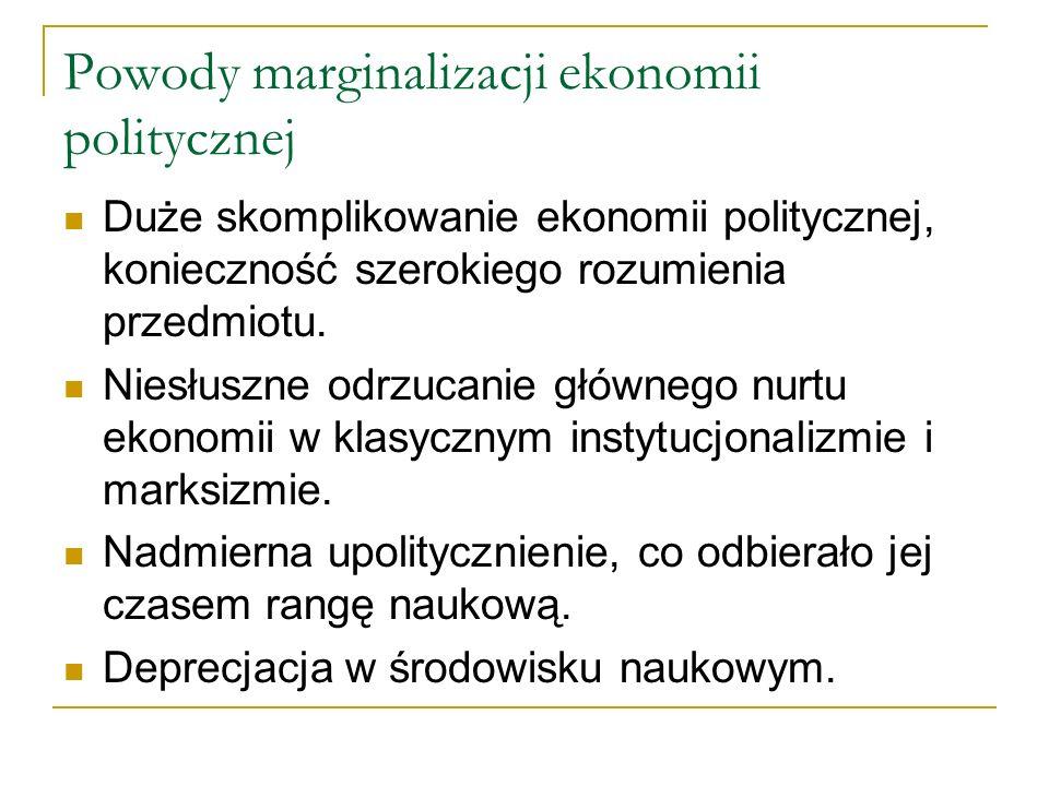 Powody marginalizacji ekonomii politycznej