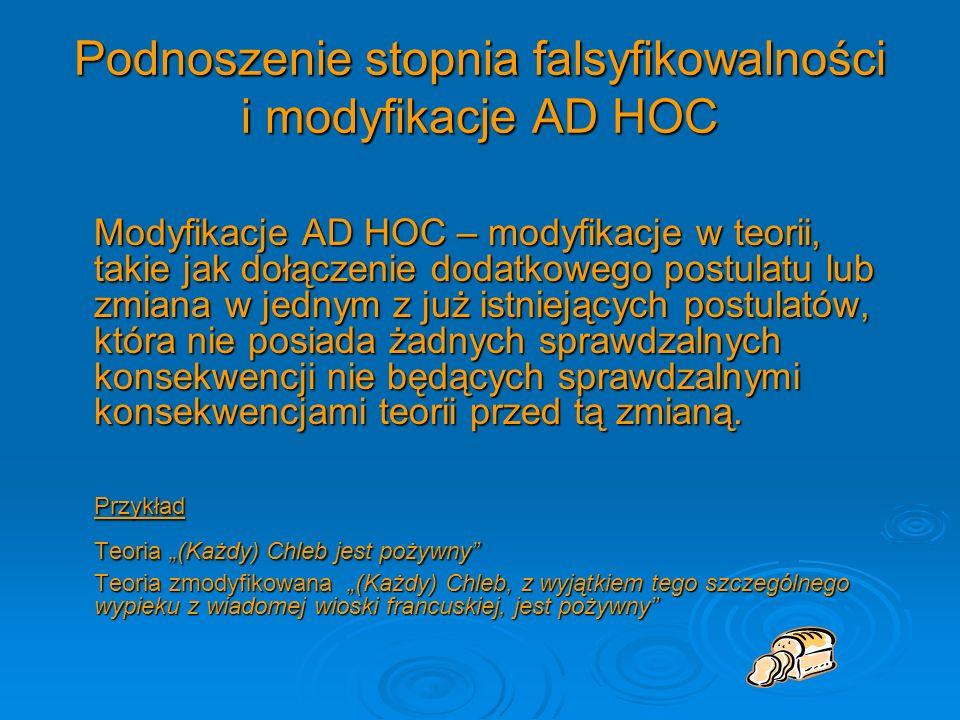 Podnoszenie stopnia falsyfikowalności i modyfikacje AD HOC
