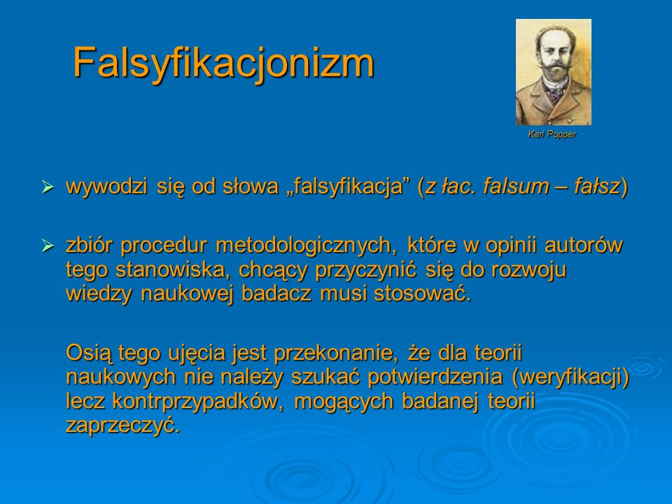 """Falsyfikacjonizm Karl Popper. wywodzi się od słowa """"falsyfikacja (z łac. falsum – fałsz)"""