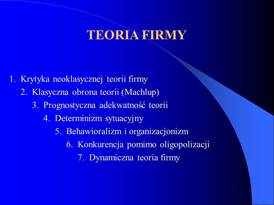 TEORIA FIRMY 1. Krytyka neoklasycznej teorii firmy