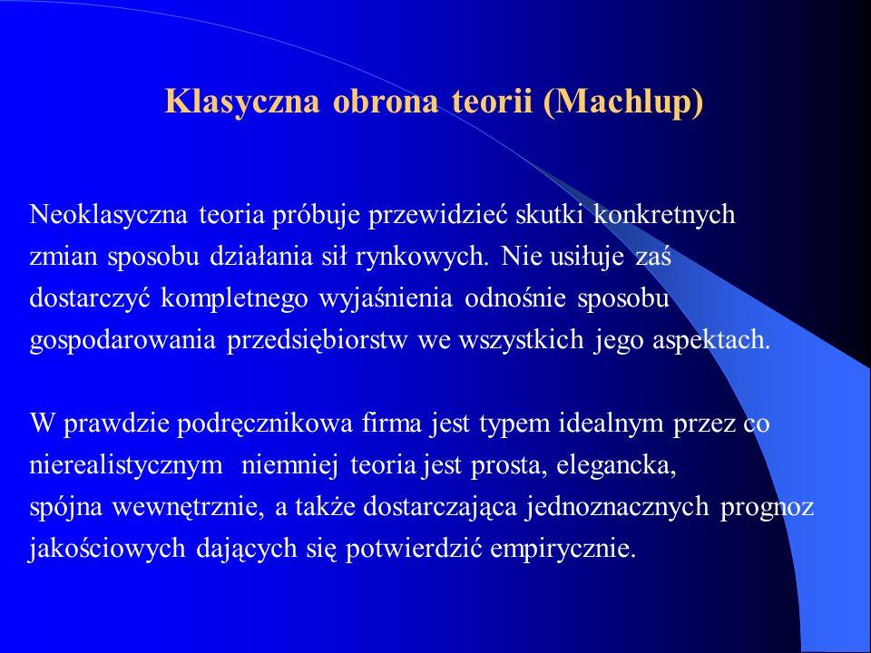 Klasyczna obrona teorii (Machlup)