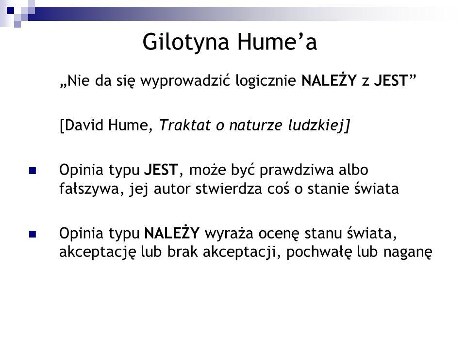 """Gilotyna Hume'a """"Nie da się wyprowadzić logicznie NALEŻY z JEST"""