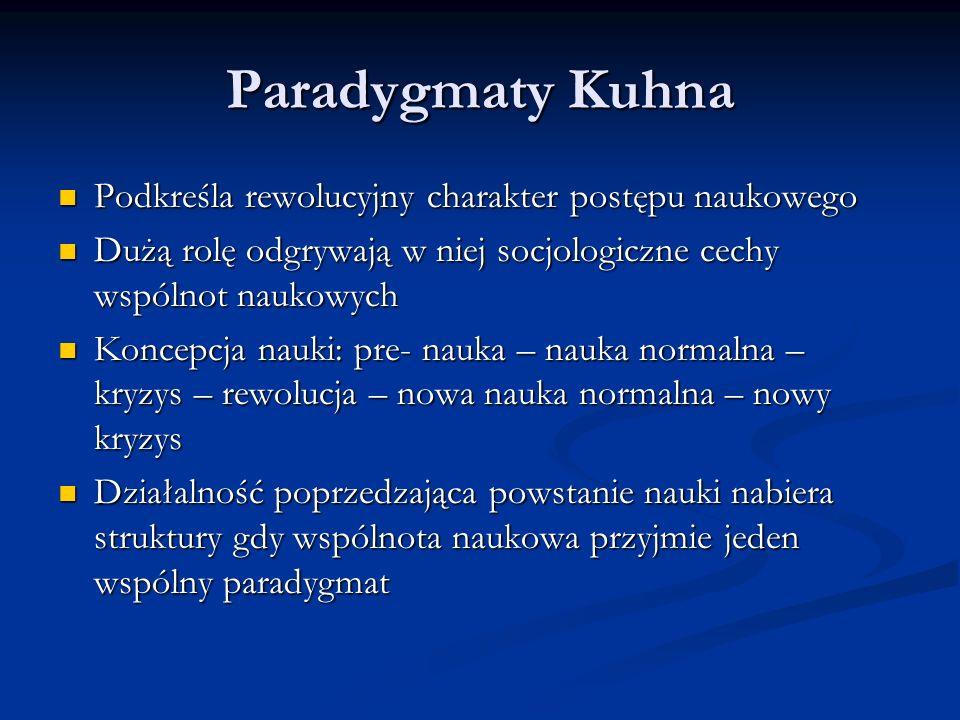 Paradygmaty Kuhna Podkreśla rewolucyjny charakter postępu naukowego