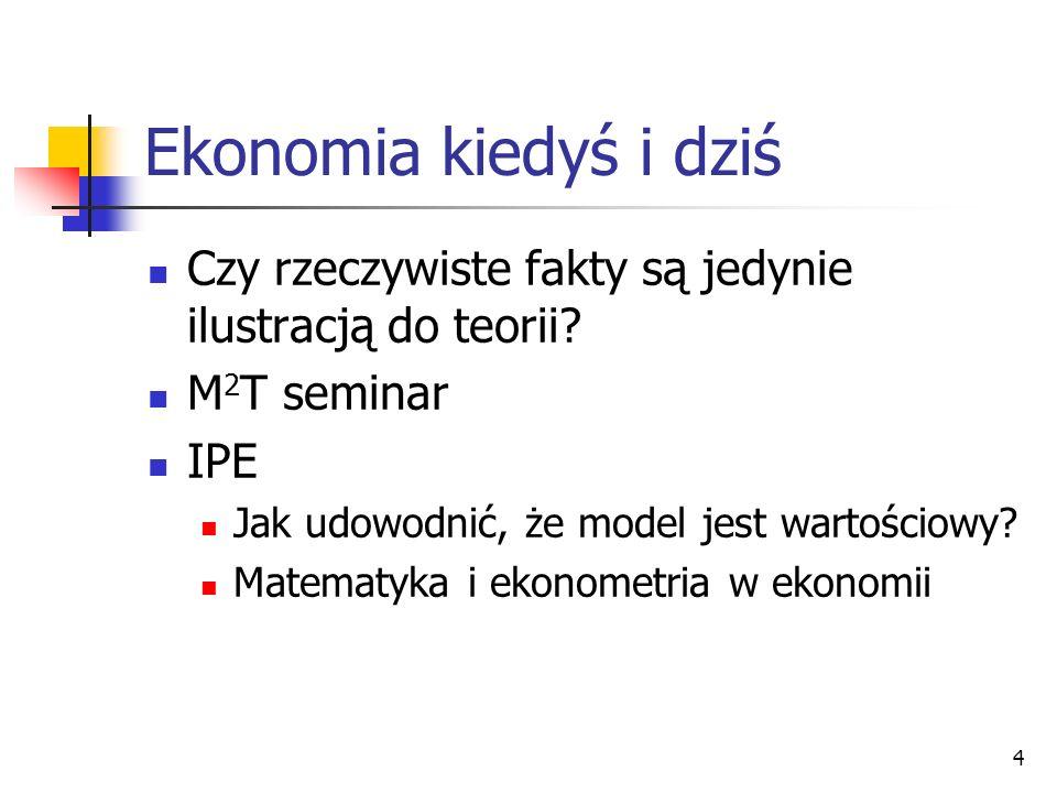 Ekonomia kiedyś i dziś Czy rzeczywiste fakty są jedynie ilustracją do teorii M2T seminar. IPE. Jak udowodnić, że model jest wartościowy