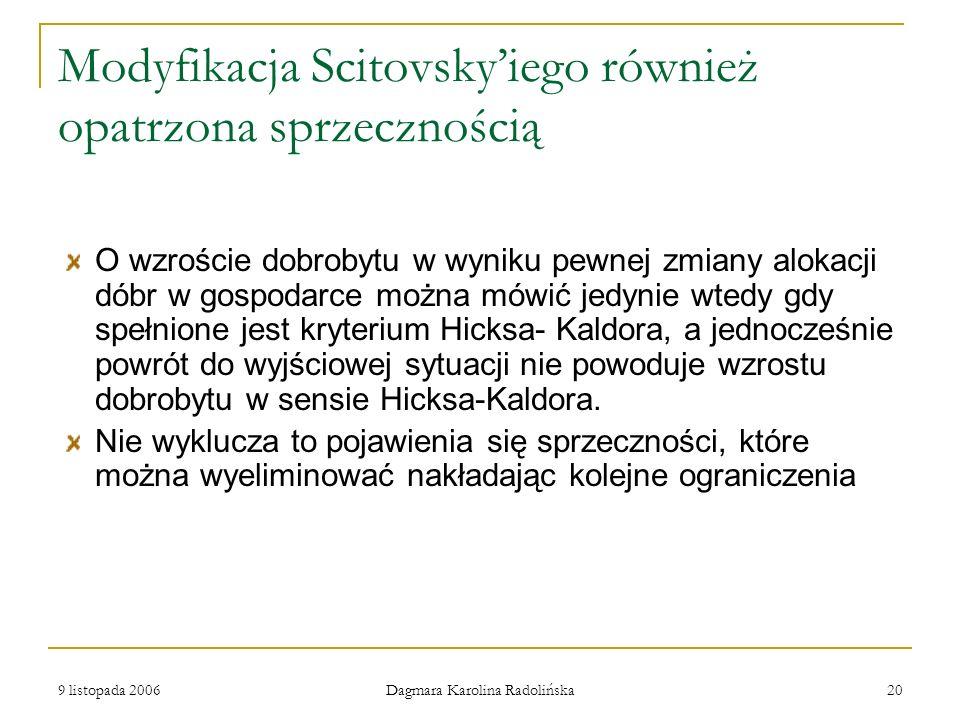 Modyfikacja Scitovsky'iego również opatrzona sprzecznością