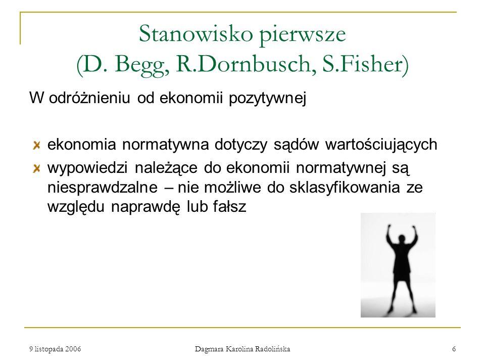 Stanowisko pierwsze (D. Begg, R.Dornbusch, S.Fisher)