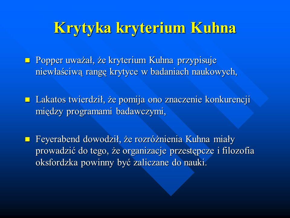 Krytyka kryterium Kuhna