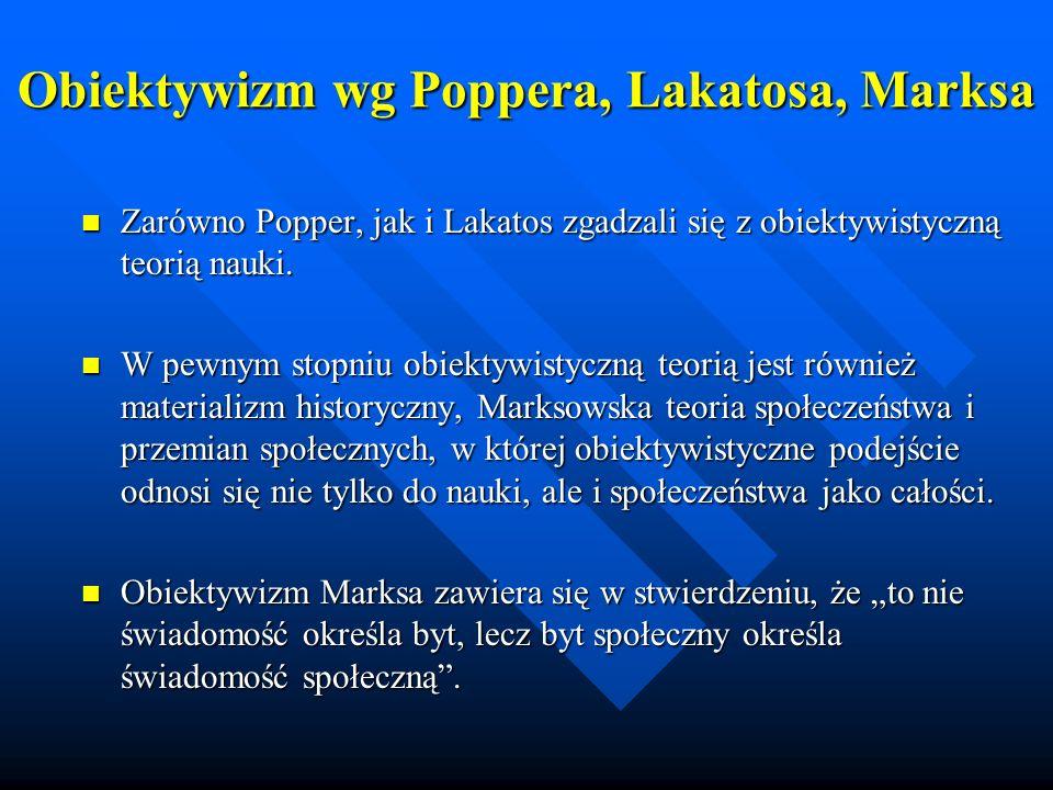 Obiektywizm wg Poppera, Lakatosa, Marksa