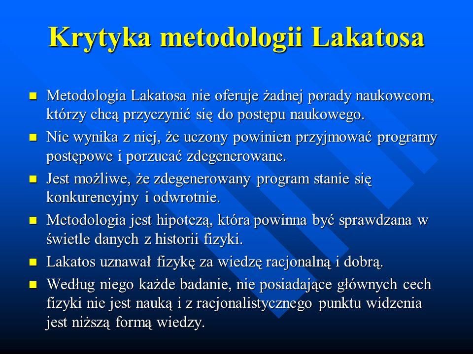 Krytyka metodologii Lakatosa