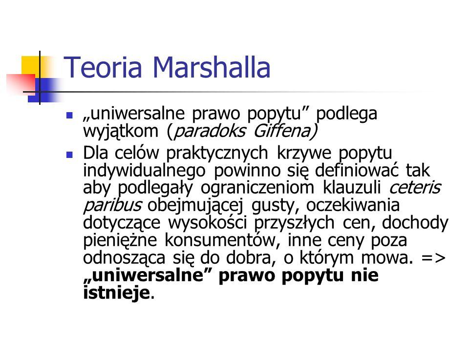 """Teoria Marshalla """"uniwersalne prawo popytu podlega wyjątkom (paradoks Giffena)"""