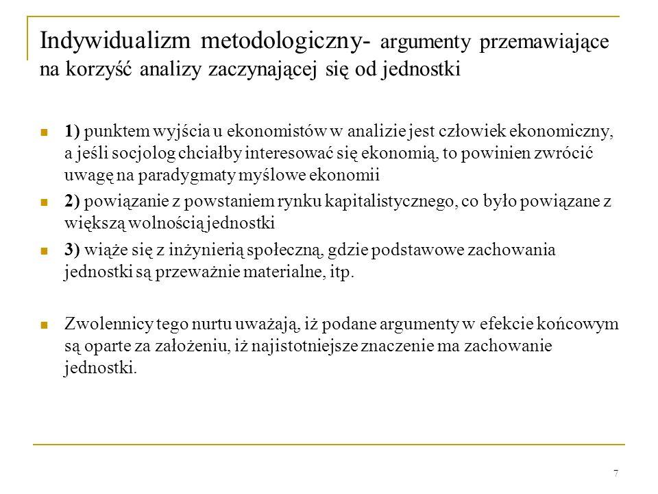 Indywidualizm metodologiczny- argumenty przemawiające na korzyść analizy zaczynającej się od jednostki
