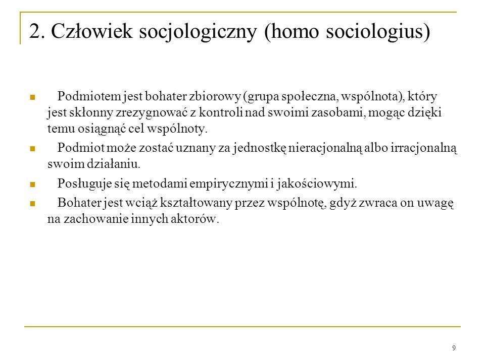 2. Człowiek socjologiczny (homo sociologius)