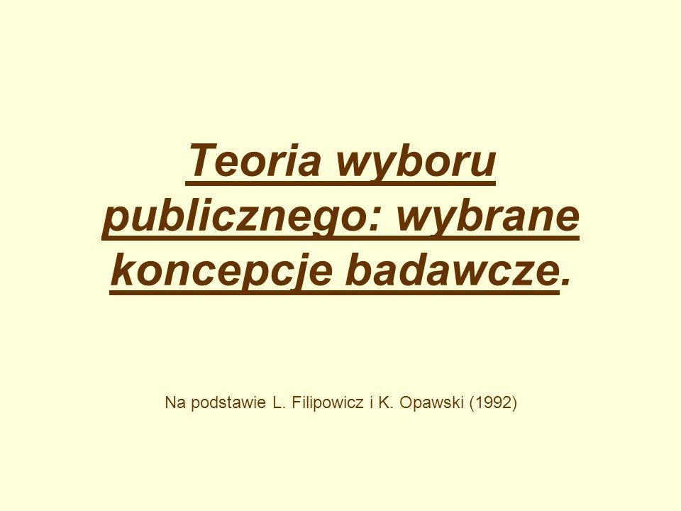Teoria wyboru publicznego: wybrane koncepcje badawcze.