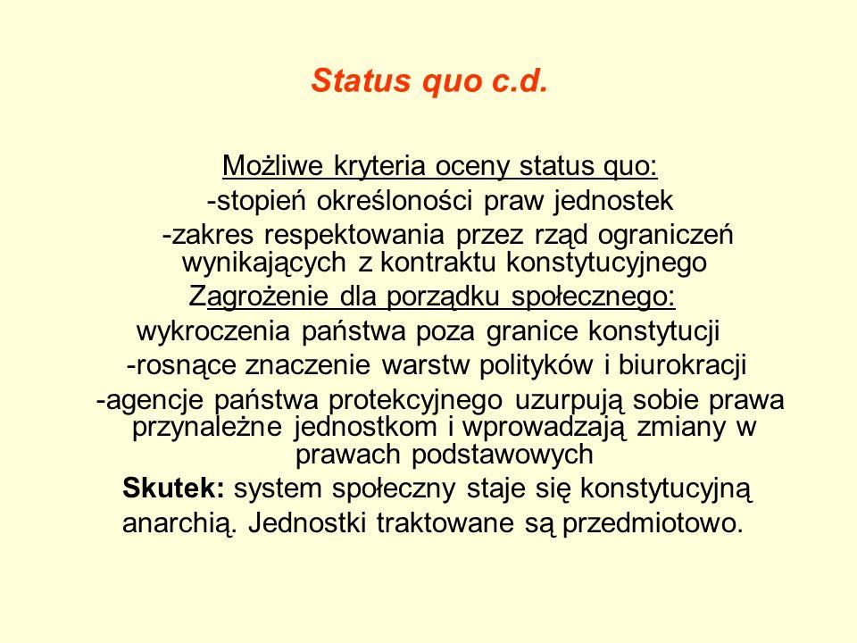 Status quo c.d. Możliwe kryteria oceny status quo: