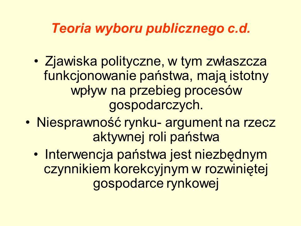 Teoria wyboru publicznego c.d.