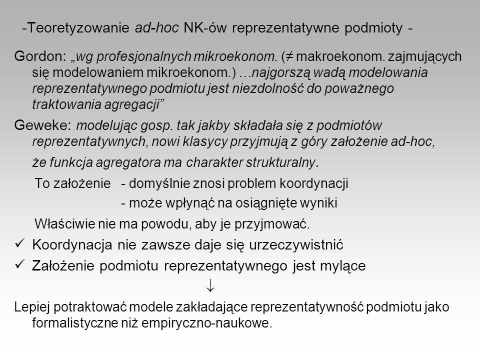 Teoretyzowanie ad-hoc NK-ów reprezentatywne podmioty -