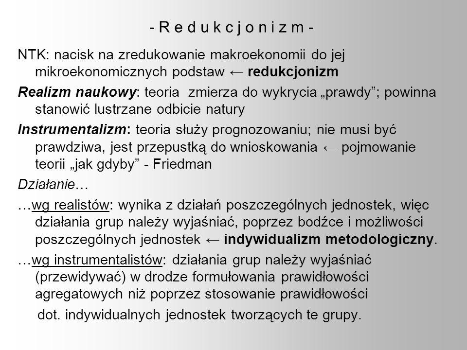 - R e d u k c j o n i z m - NTK: nacisk na zredukowanie makroekonomii do jej mikroekonomicznych podstaw ← redukcjonizm.