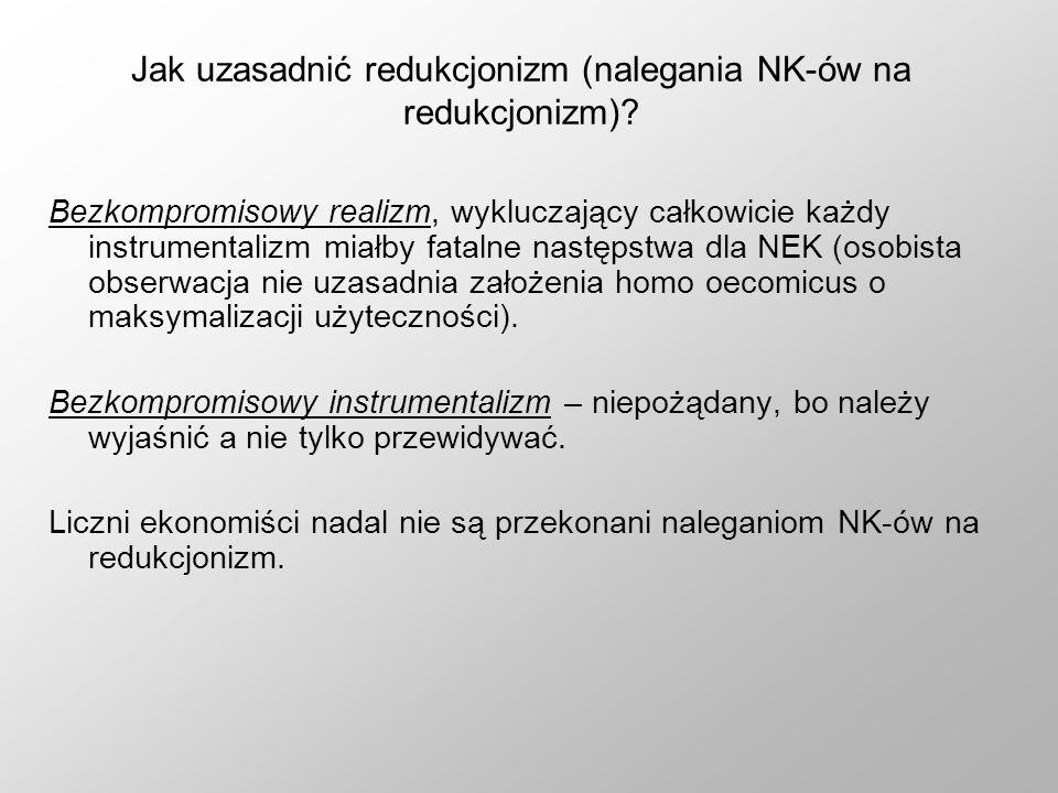 Jak uzasadnić redukcjonizm (nalegania NK-ów na redukcjonizm)
