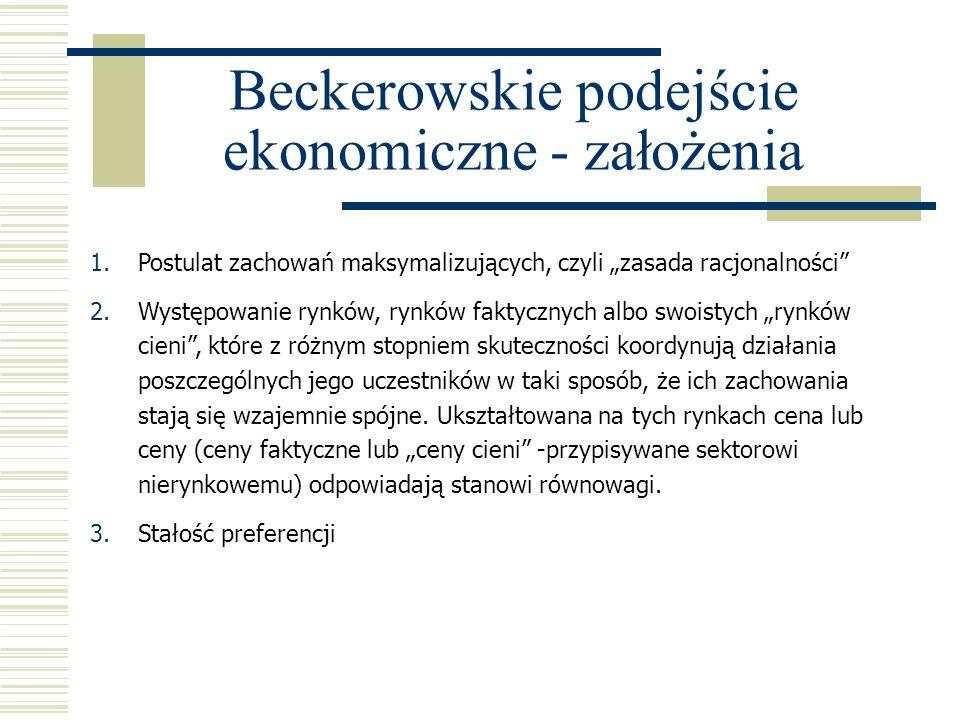 Beckerowskie podejście ekonomiczne - założenia