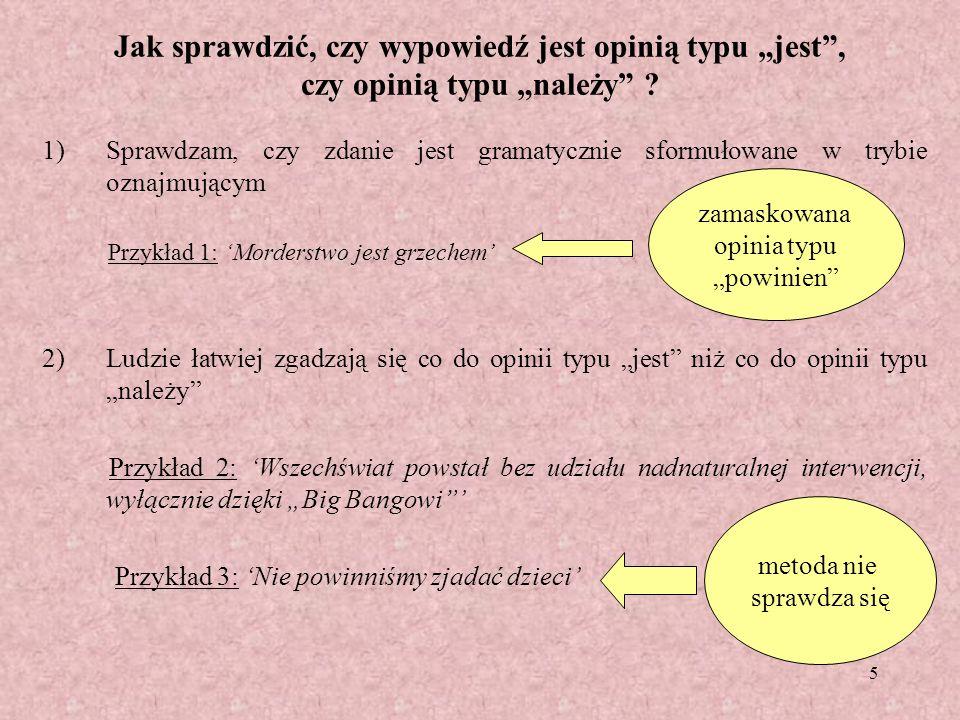 """Jak sprawdzić, czy wypowiedź jest opinią typu """"jest , czy opinią typu """"należy"""